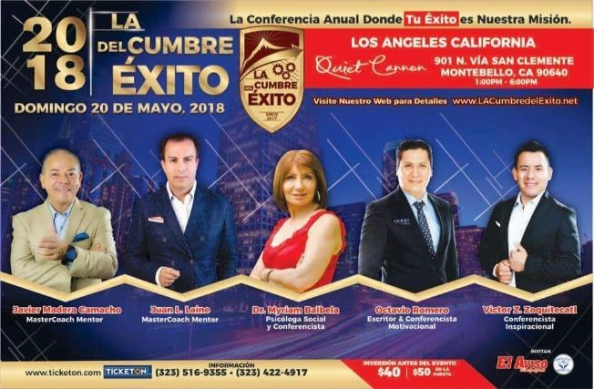 Flyer for La Cumbre del Exito 2018