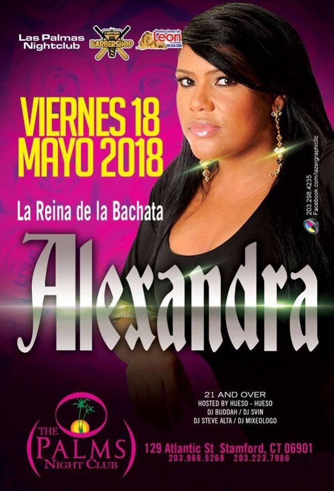 Flyer for La Reina de La Bachata Alexandra en Stamford,CT