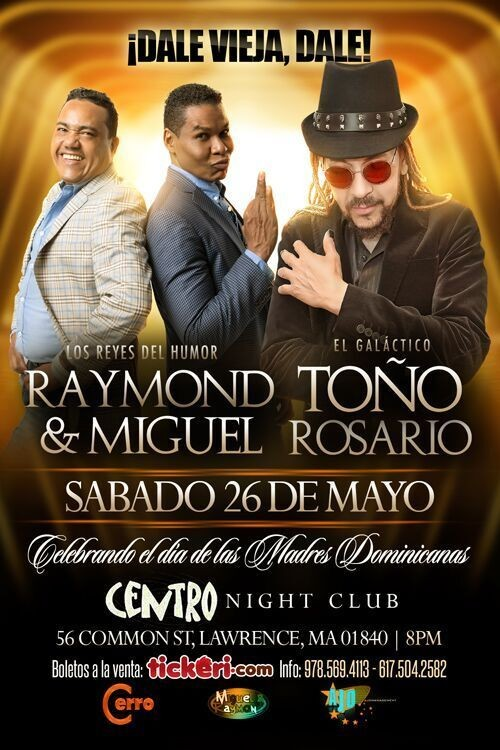 Flyer for Toño Rosario y Raymond & Miguel in Lawrence MA CANCELADO