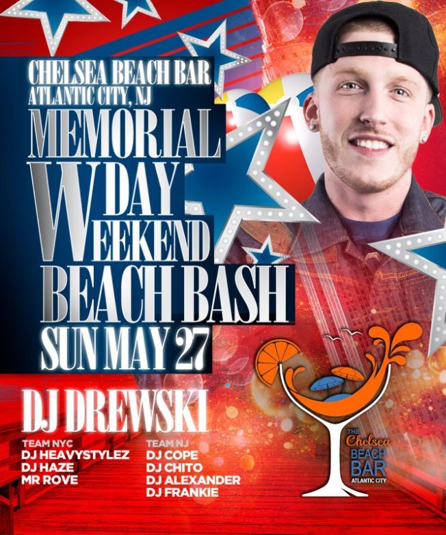 Flyer for Memorial Day Weekend 2018 Beach Party At Chelsea Beach Bar