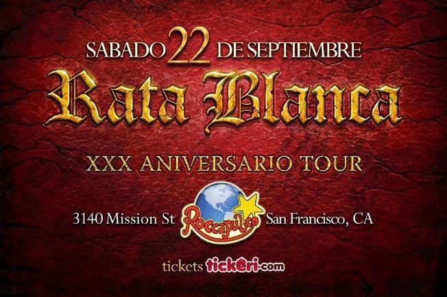 Flyer for Rata Blanca en San Francisco