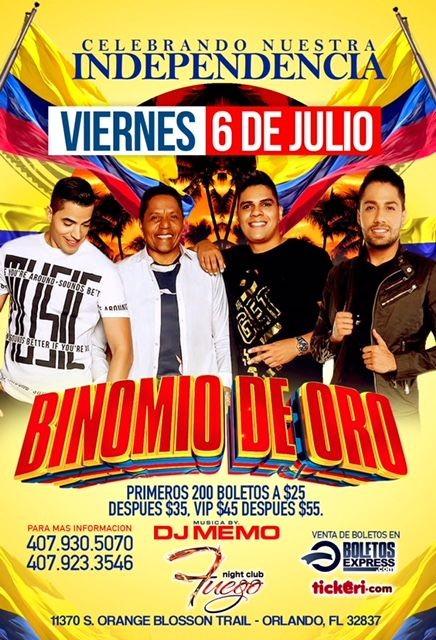 Flyer for Binomio de Oro en Orlando