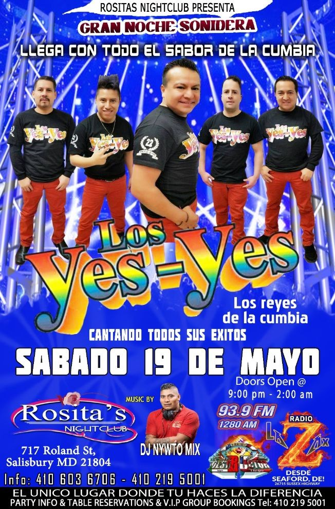 Flyer for Rosita's Presenta Los Yes Yes