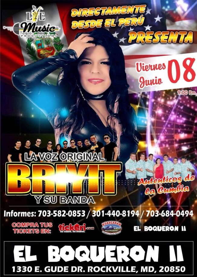 Flyer for La Voz Original de Briyit y su Banda en Rockville MD