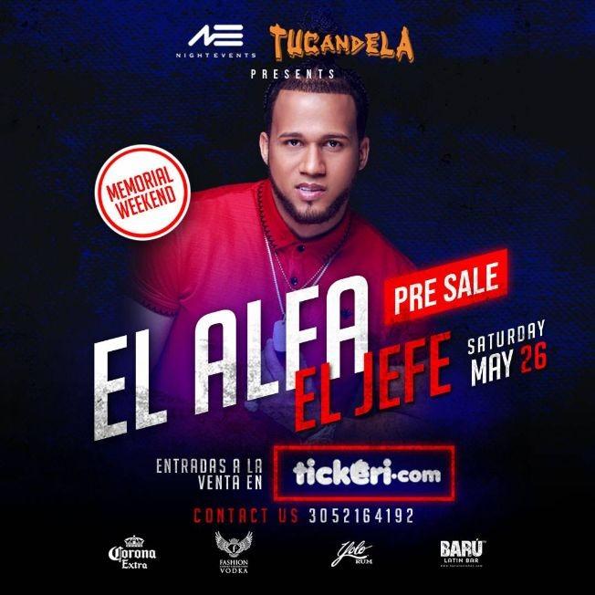 Flyer for EL ALFA EL JEFE LIVE IN CONCERT