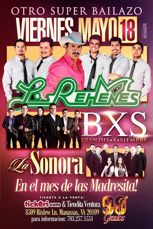 Flyer for Los Rehenes, BXS & La Sonora en Manassas,VA