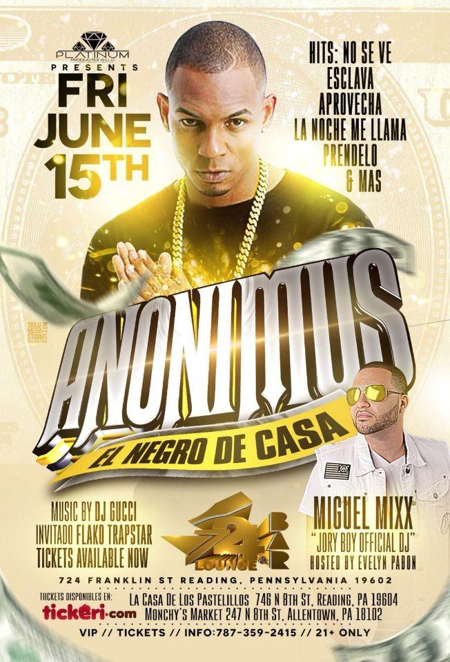 Flyer for Anonimus En Vivo En 724 Bar & Lounge - Reading,PA