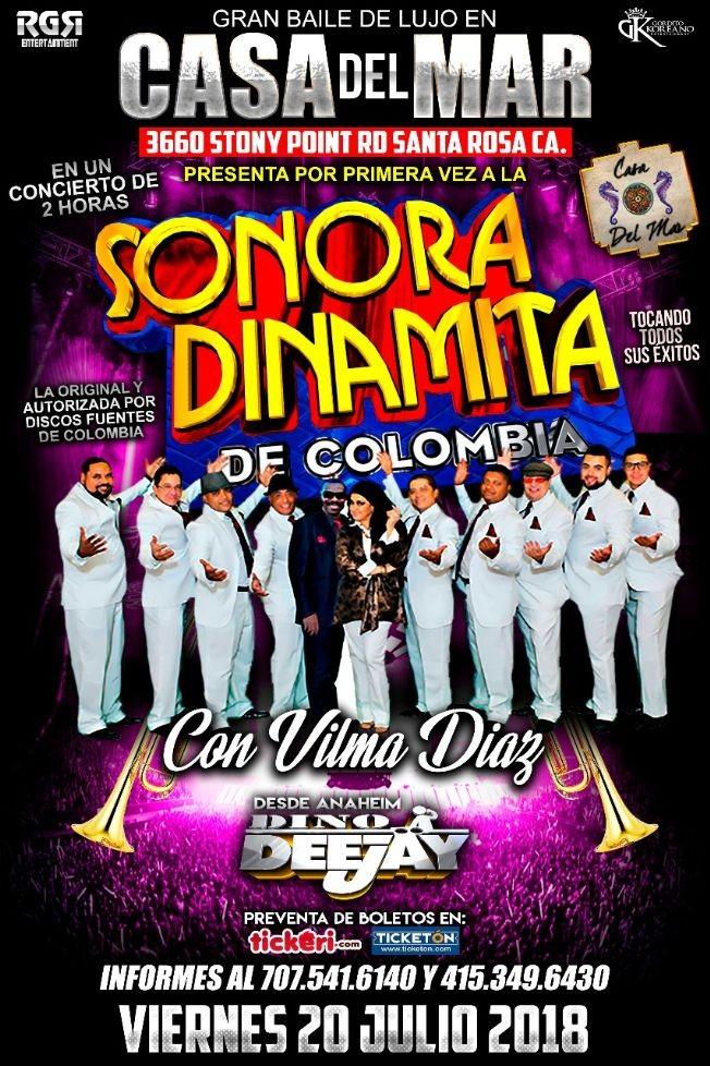 Flyer for La Sonora Dinamita en Santa Rosa