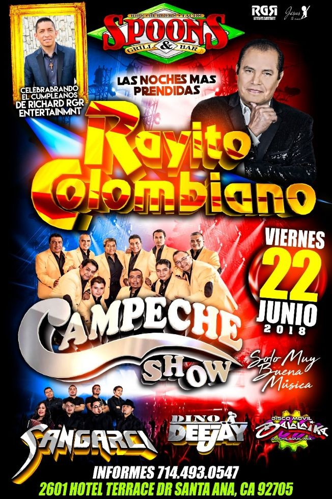 Flyer for Rayito Colombiano & Campeche Show en Santa Ana,CA