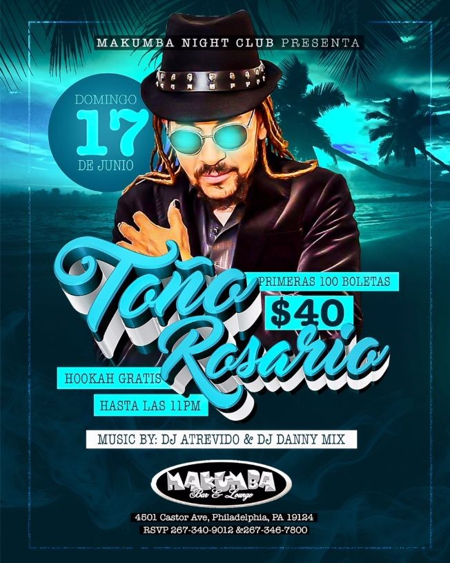 Flyer for Toño Rosario en Philadelphia,PA