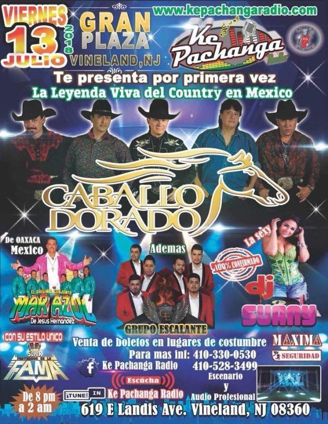 Flyer for CABALLO DORADO Y ORIGINAL CONJUNTO MAR AZUL  PACHANGA