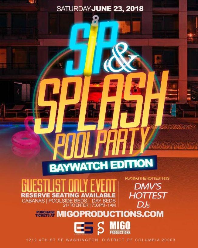 Flyer for Sip & Splash Baywatch Edition!