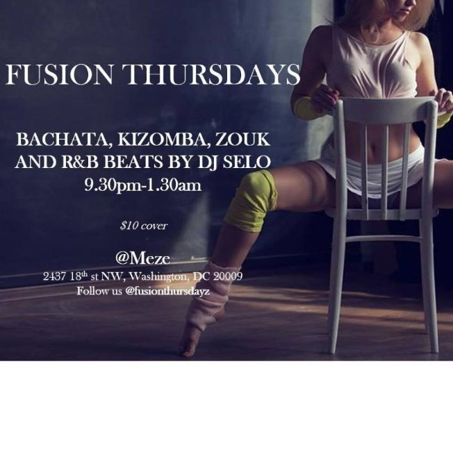 Flyer for Fusion Thursdays:Bachata, Zouk, Kizomba beats with Happy Hour Specials