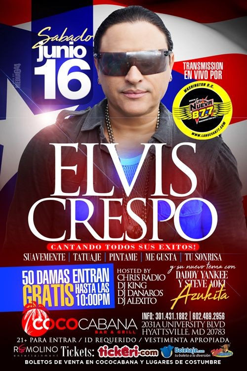 Flyer for Elvis Crespo en Concierto,en Maryland
