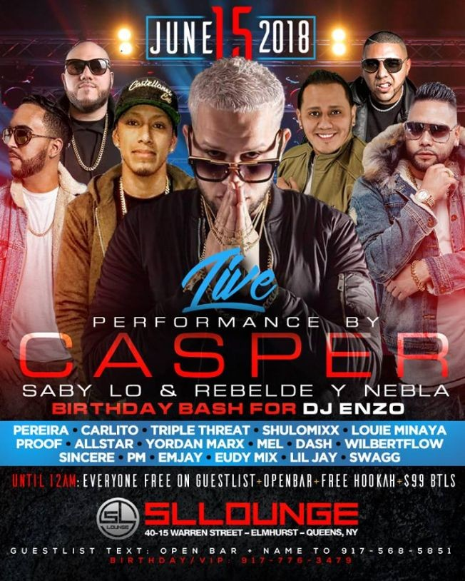 Flyer for Open Bar Fridays Casper Magico Live At SL Lounge