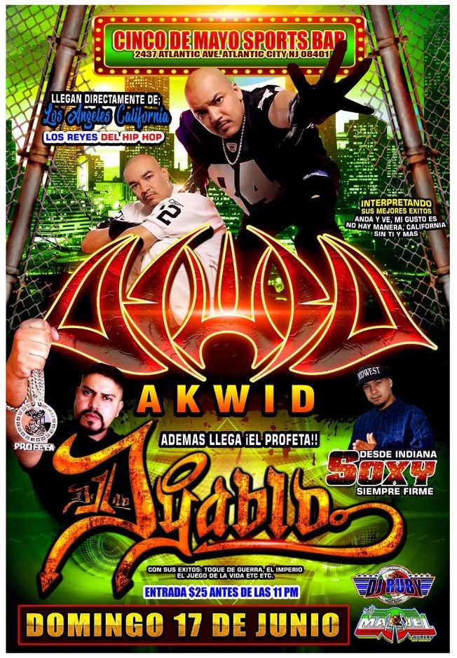 Flyer for AKWID, DON DYABLO Y SOXI SIEMPRE FIRME ATLANTIC CITY NJ