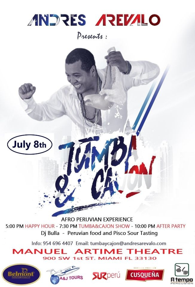 Flyer for Tumba y Cajón...  Afro peruvian Experience