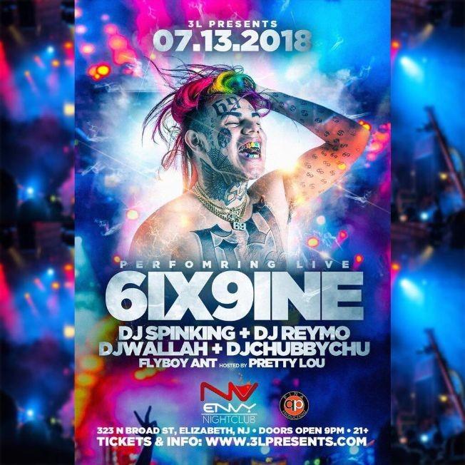 Flyer for TEKASHI 6IX9INE Live At Club Envy