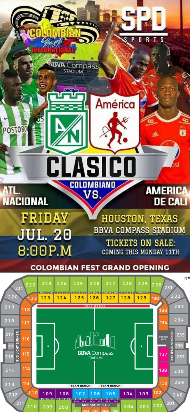 Flyer for Atletico Nacional vs. America de Cali en Houston