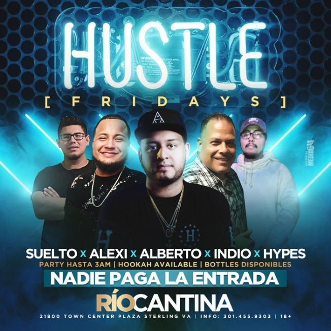 Flyer for Hustle Fridays in Sterling,VA