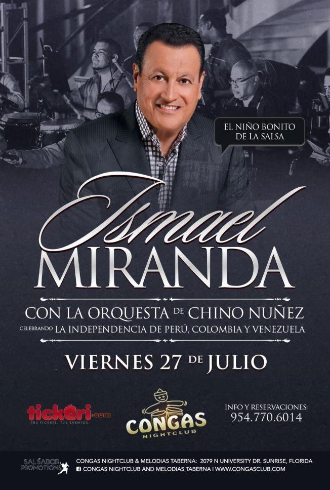 Flyer for Ismael Miranda con La Orquesta de Chino Nuñez en Sunrise,FL