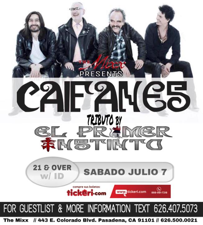 Flyer for Caifanes Live Tribute by El Primer Instinto in Pasadena,CA