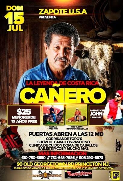 Flyer for La Leyenda de Costa Rica Cañero en Princeton,NJ