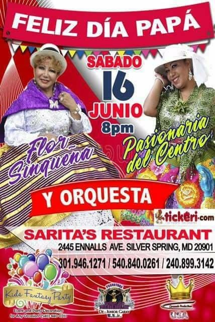 Flyer for Flor Siquena & Pasionaria del Centro en Silver Spring,MD