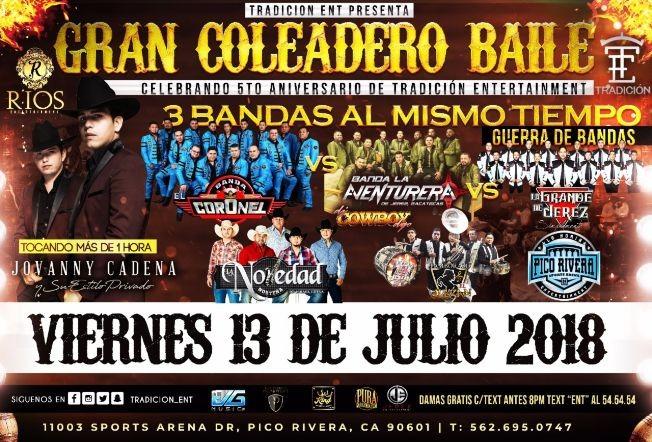 Flyer for Jovanny Cadena, Banda Coronel, La Novedad, Banda La Aventurera & Mas en Pico Rivera,CA