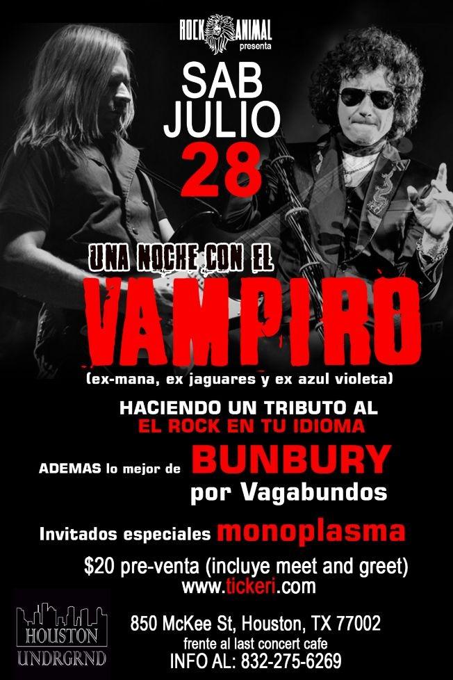 """Flyer for Cesar """"el Vampiro: Tributo a El Rock en Espanol y lo mejor de Bunbury con vagabundos"""