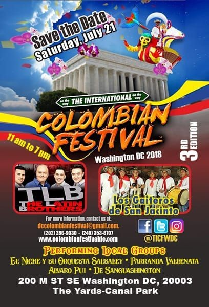 Flyer for The International Colombian Festival Washington DC 2018