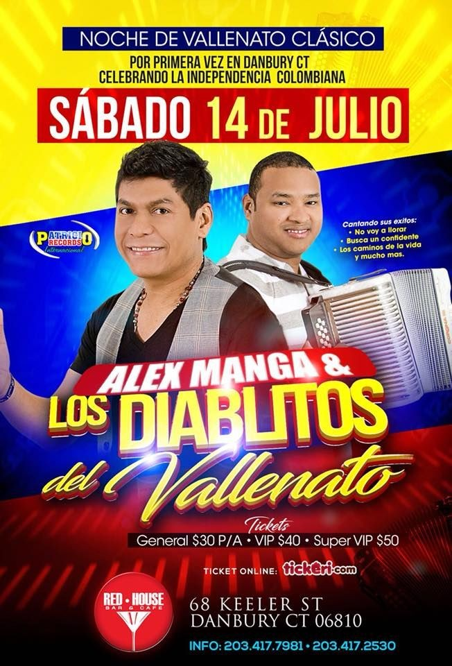Flyer for Alex Manga & Los Diablitos del Vallenato en Danbury,CT