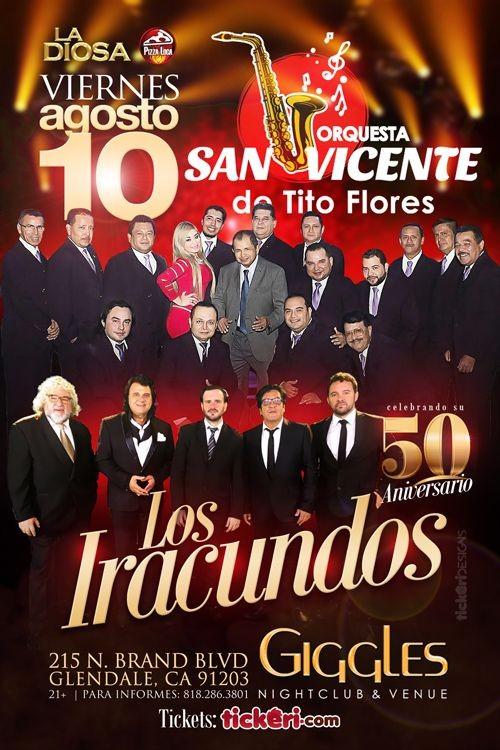 Flyer for ORQUESTA SAN VICENTE Y LOS IRACUNDOS EN LOS ANGELES