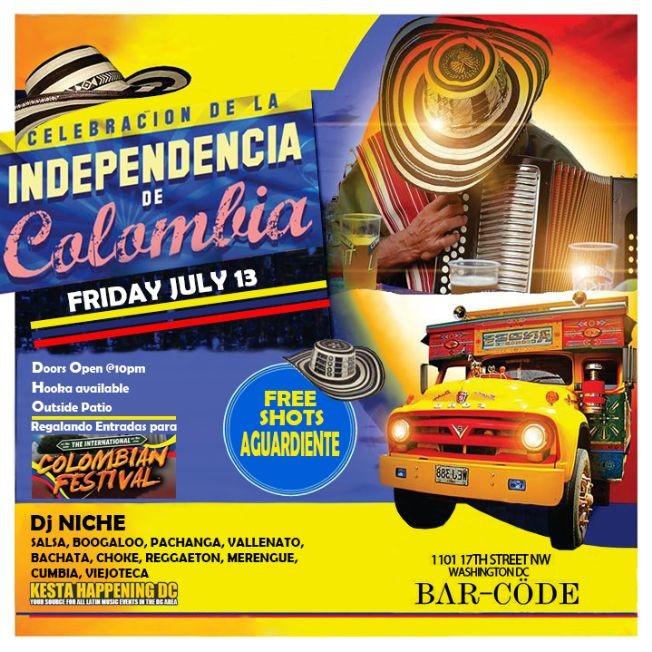 Flyer for Independencia de Colombia en Washington DC