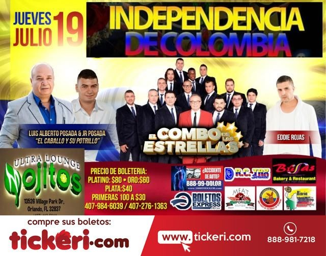 Flyer for A CELEBRAR LA INDEPENDENCIA DE COLOMBIA EN FL