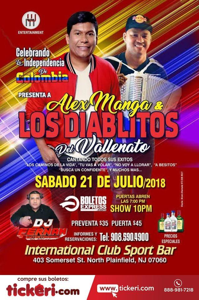 Flyer for Alex Manga y Los Diablitos del Vallenato