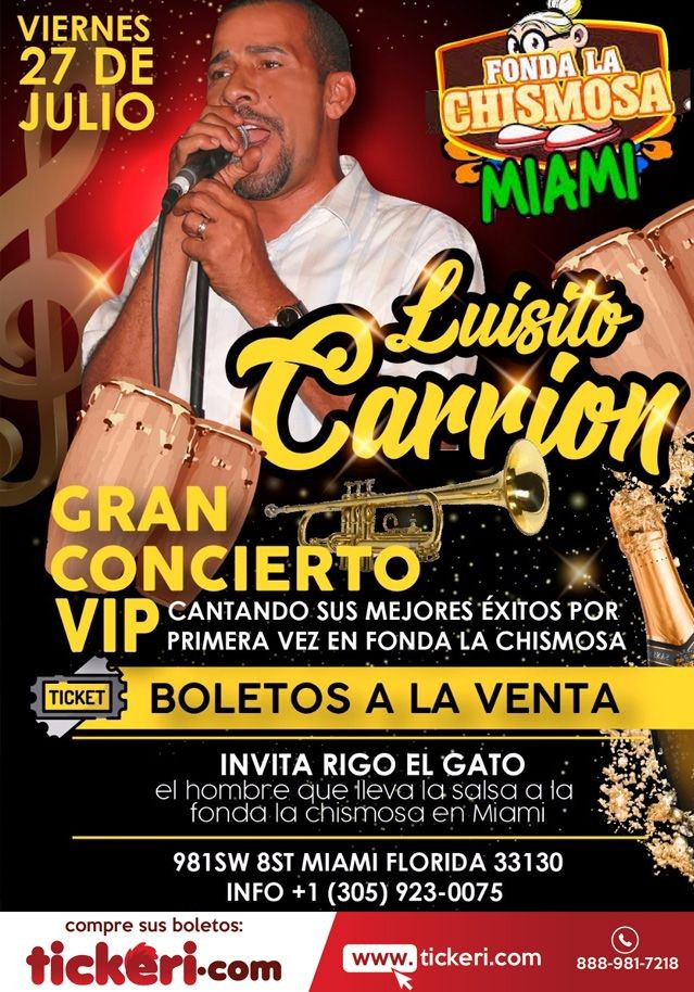 Flyer for LUISITO CARRION EN MIAMI