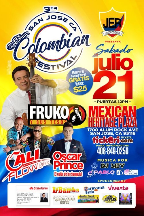 Flyer for San Jose Colombian Independence Day Festival 2018