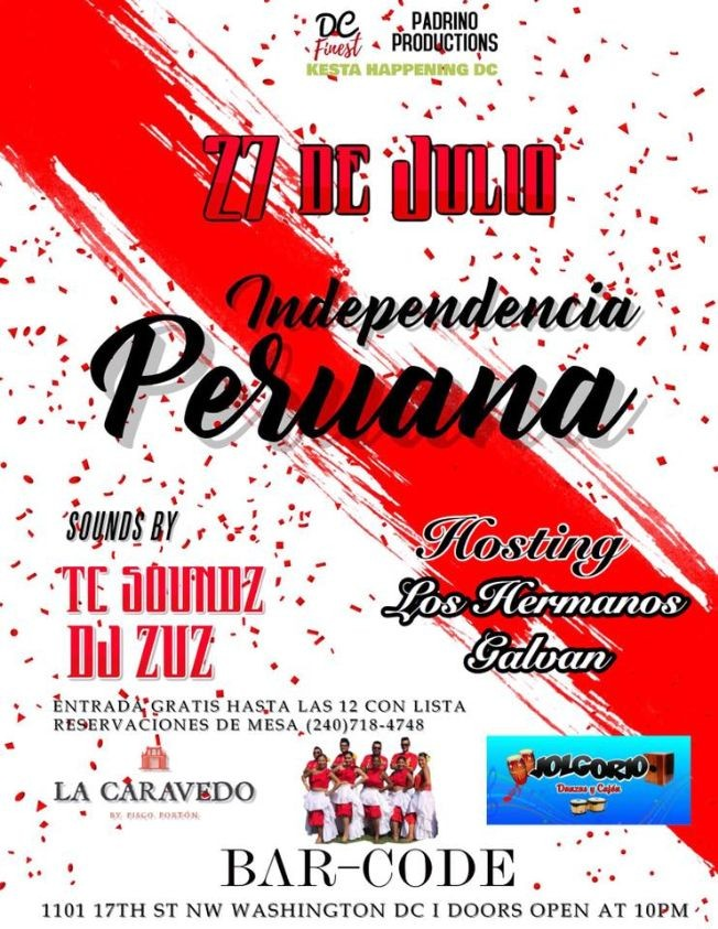 Flyer for Independencia Peruana en Washington DC