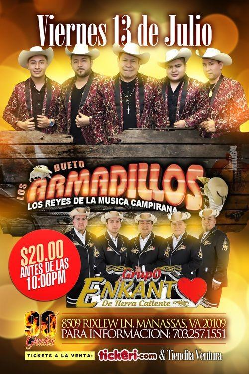 Flyer for Dueto Los Armadillos & Grupo Enkanto de Tierra Caliente en Manassas,VA
