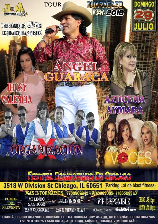 Flyer for TOUR GUARACAZO con Angel Guaraca, Organizacion X, Azucena Aymaru y mas en Chicago,IL