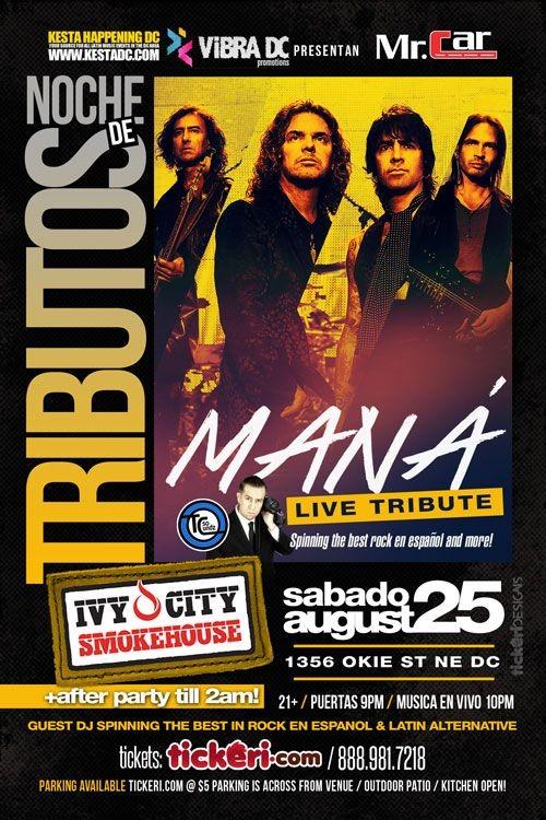 Flyer for Noche de Tributos- Mana Live Tribute in Washington,DC