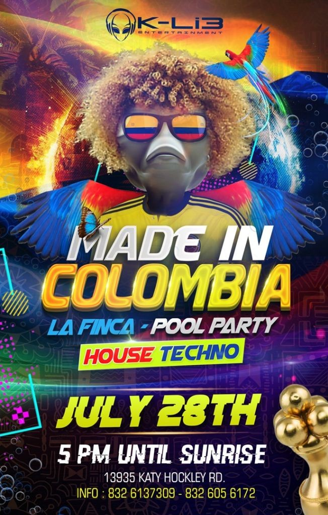 Flyer for MADE IN COLOMBIA POOL PARTY