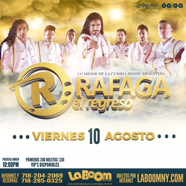 Flyer for Rafaga en New York