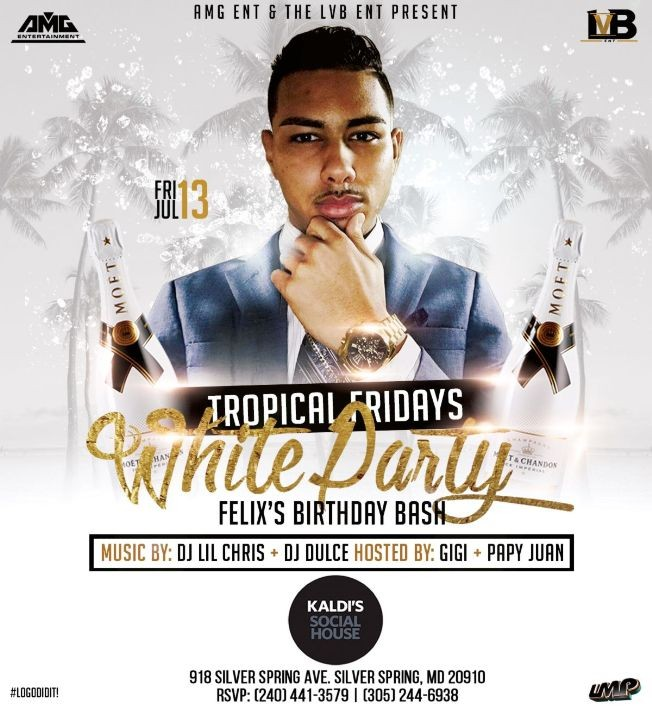 Flyer for Tropical Fridays - ALL WHITE PARTY EDITION