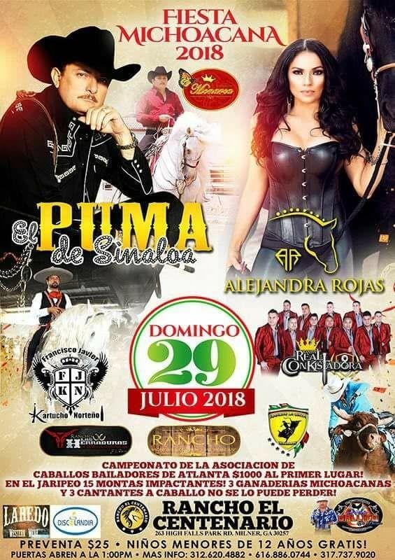 Flyer for El Puma de Sinaloa, Alejandra Rojas & Mas en Milner,GA