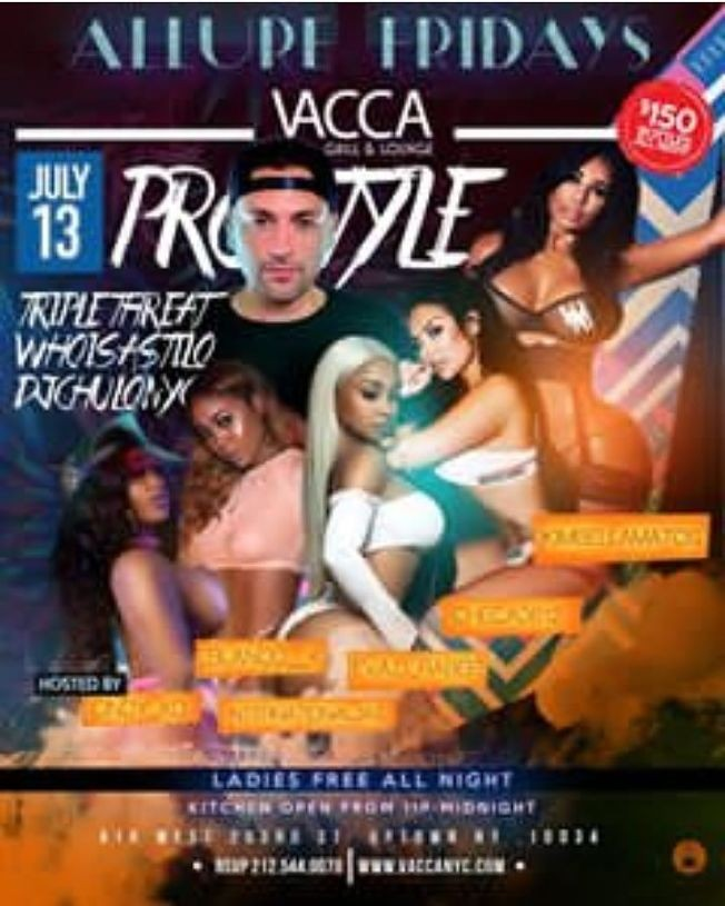 Flyer for Allure Fridays DJ Prostyle Live At Vacca Lounge