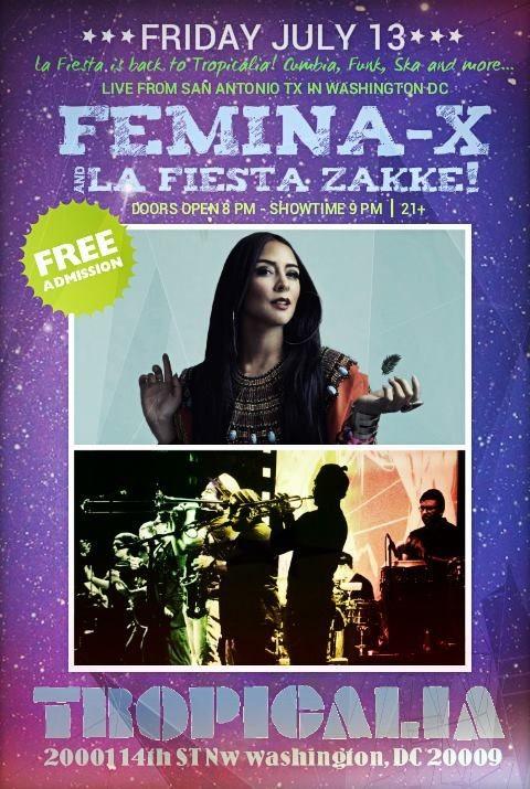 Flyer for Zakke & Femina X Live at Tropicalia (FREE ADMISSION)