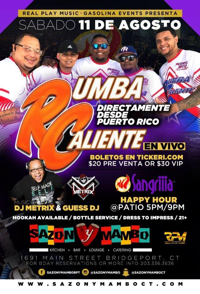 Flyer for RUMBA CALIENTE @ SAZON Y MAMBO NIGHT CLUB