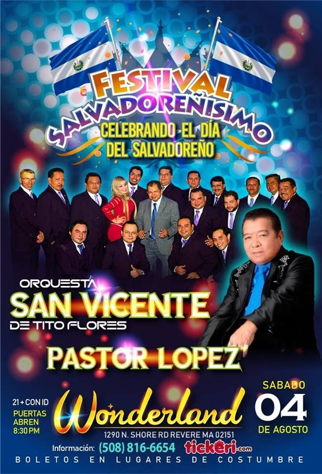 Flyer for Orquesta San Vicente & Pastor Lopez en Boston,MA